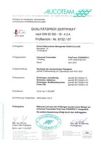 Quality Inspection Certificate - PolyTrans P 32000