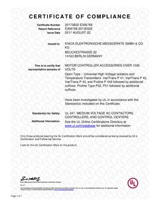 Certificate of Compliance (UL) - ProLine P 52000