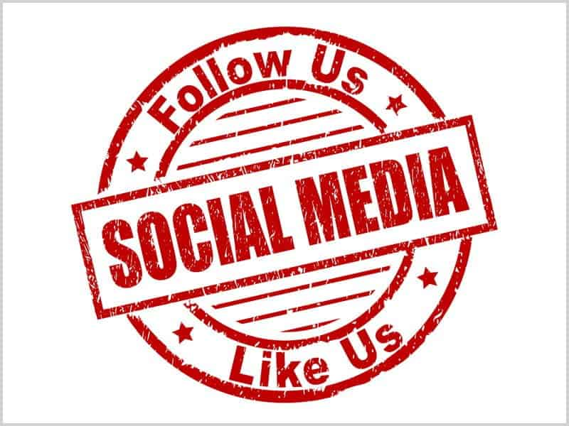graphic of a red stamp with the words follow us, like us and social media