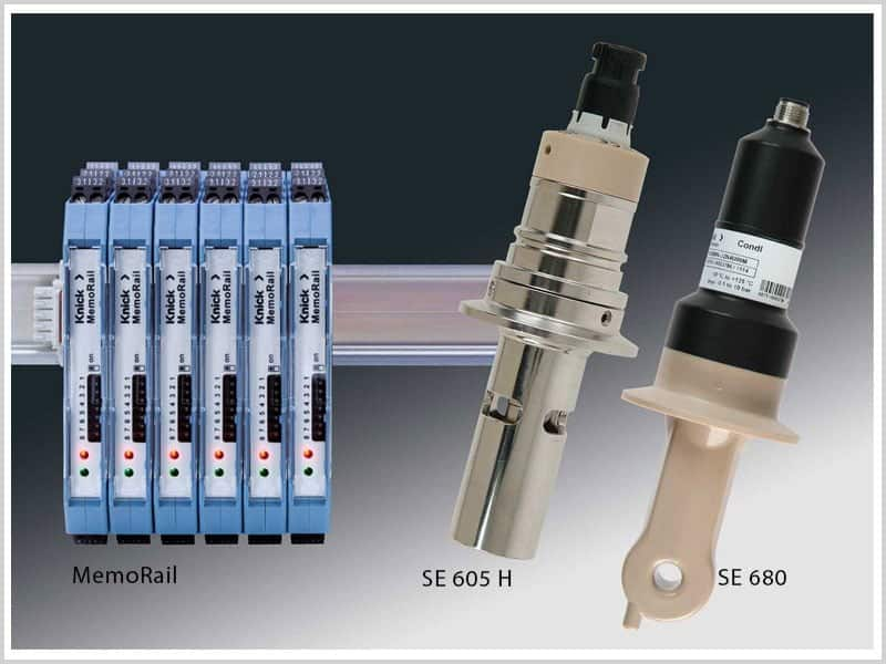 Memorail transmitter in combination with Memosens conductivity sensors from Knick