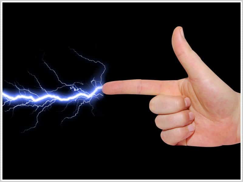 Hand with pointed finger from which shoots a blue lightning bolt
