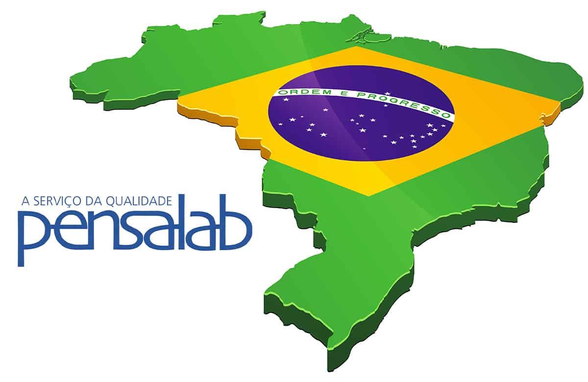 3D brazilian flag with pensalab company logo