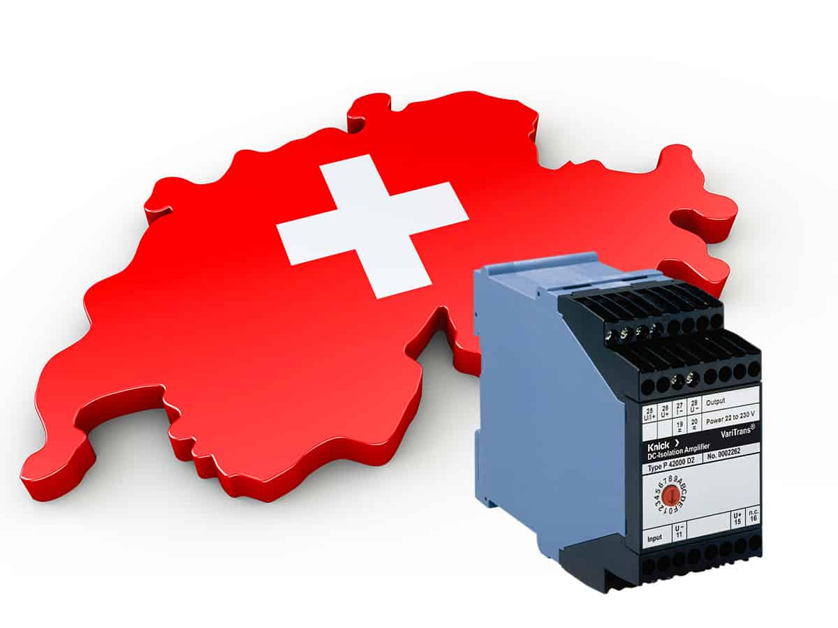 3D Swiss flag with Knick high-voltage transducer